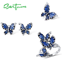 SANTUZZA Genuine 925 Silver Jewelry Set For Women Blue Butterfly Ring Earrings Pendant Set Wedding Fine Jewelry Handmade Enamel цена и фото