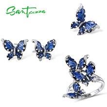 SANTUZZA Genuine 925 Silver Jewelry Set For Women Blue Butterfly Ring Earrings Pendant Set Wedding Fine Jewelry Handmade Enamel
