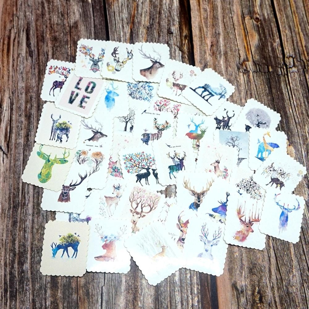 42PCS Lovely Colorful Deer Stickers Students Girls Boys Children Kids Gift Stickers Cute Animals Paper Stickers School Supplies