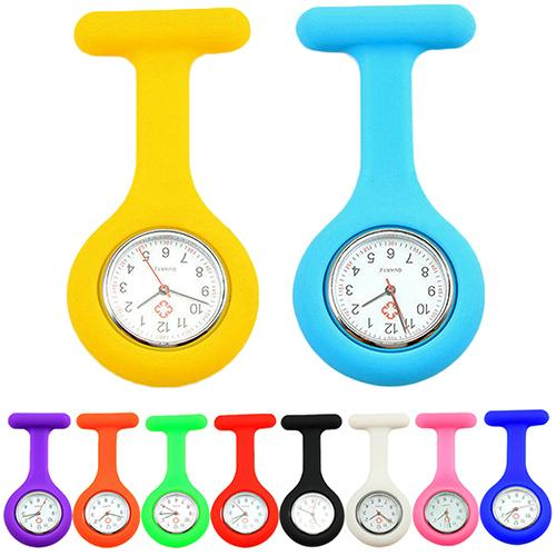 Nurse Watch Casual Pocket Watch Soft Silicone Electroplating Nurse Watches Brooch Tunic Fob Watch With Free Battery Quartz Watch