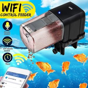 WiFi Automatic Fish Tank Aquarium Pond Fish Food Feeder Timer Speech Control Feeding Dispenser Adjustable Auto Practical Feeder