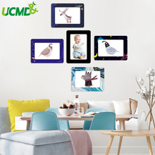 5pcs Magnetic Photo Frame Set 5 inch Removable Fridge Magnets Wall Mural Sticker For Living Room Home Decor
