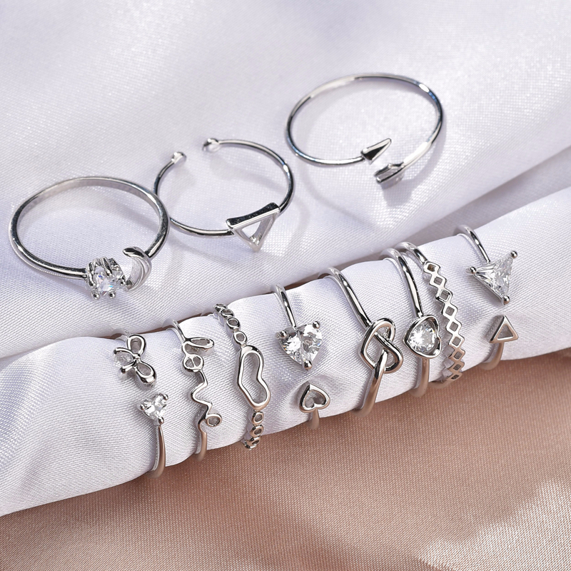 Cute Rhinestone Copper Ring Couples Romantic Silver Heart ECG Stainless Steel Ring With Zircon Unisex Wedding Party Lovers' Gift