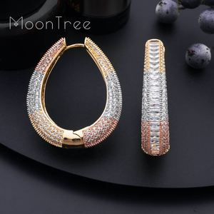 Image 3 - MoonTree Big Earrings Big Wide Circle Full Micro Cubic 3Tone Color Copper Pave Setting Ladies  Earrings Jewelry  Bijoux