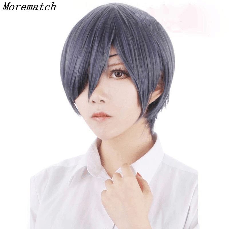 Morematch Anime Black Butler Kuroshitsuji Ciel Phantomhive Wigs Grey Blue Heat Resistant Synthetic Hair Cosplay Wig