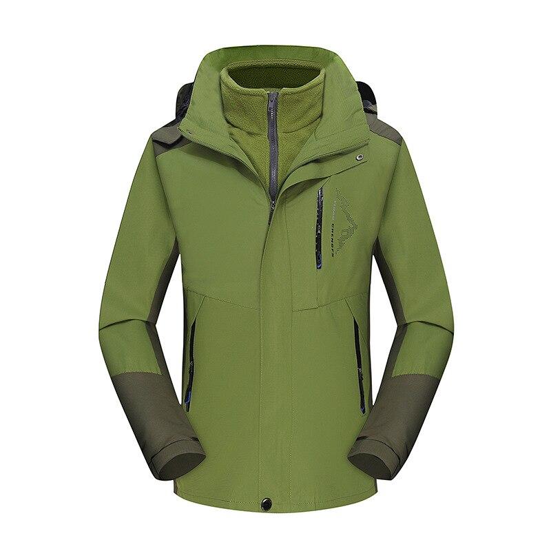 Осень и зима стиль пара открытый лыжный костюм Мужской плащ куртка три в одном Теплый Альпинизм - Цвет: Green