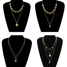 4 Pcs/ Set Trendy Gold Color Metal Shell Necklace Summer Beach Multilayer Pendant Long Chain Collares Jewelry