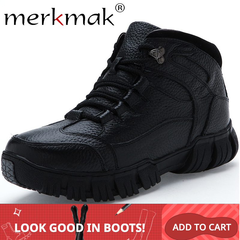 Merkmak 2019 Warm Winter Men Boots Genuine Leather Boots Men's Winter Shoes Man Military Fur Boots For Male Shoes Zapatos Hombre