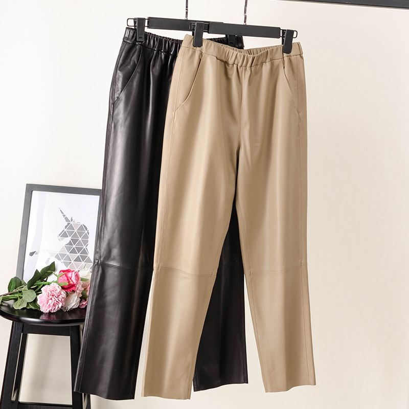 Fashion Women Pants 100% Genuine Sheep Leather Real Sheep Leather Crop Jeans Elastic Belt Waist Trousers