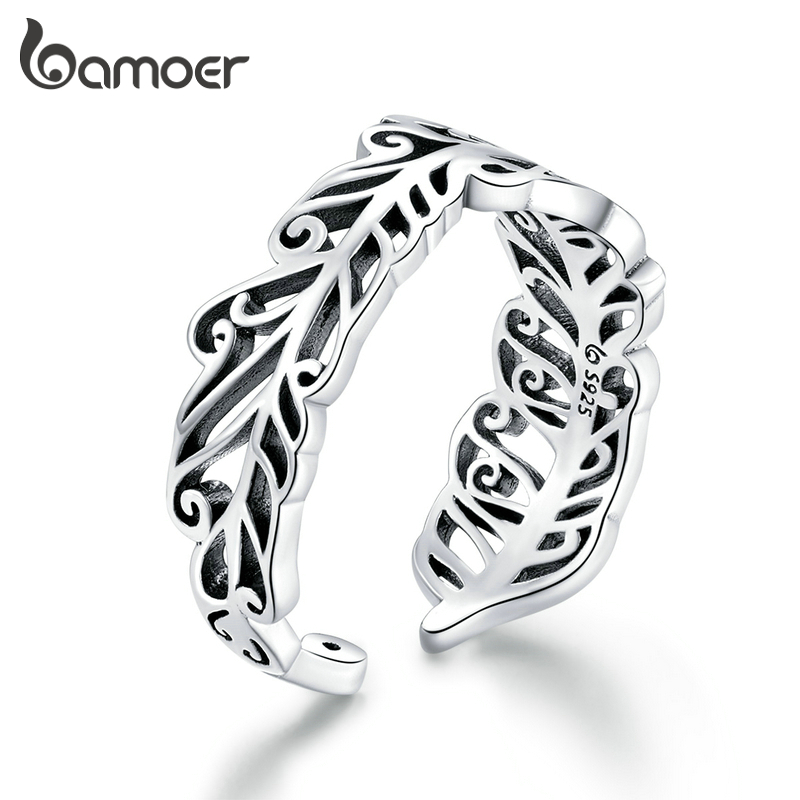 Bamoer Feather Open Adjustable Finger Rings For Women Retro 925 Sterling Silver Jewelry Vintage Style Accessories BSR109