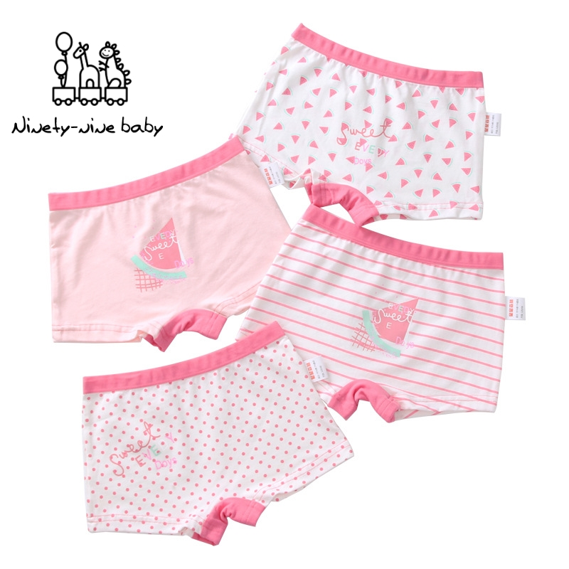 4Pcs/lot Girls Panties Boxer Pants Soft Girls Panties Kids Underwear For Cotton Sweet Print 4 Colors Baby Grils Safety Pants