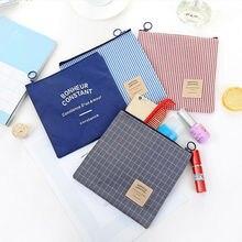 Клетчатая льняная Хлопковая сумка для покупок, винтажный Сетчатый Чехол-карандаш в полоску, косметичка для макияжа, сумки для хранения кист...