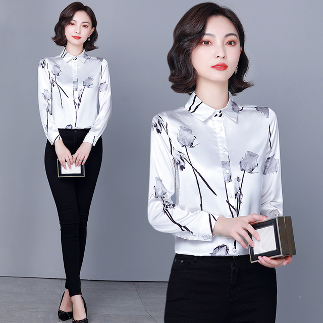 Chikichi 2021 New Spring Ladies Shirt Floral Long-sleeved Fashion Loose Oversized Satin Top Women Blouses Plus Size 4XL 2