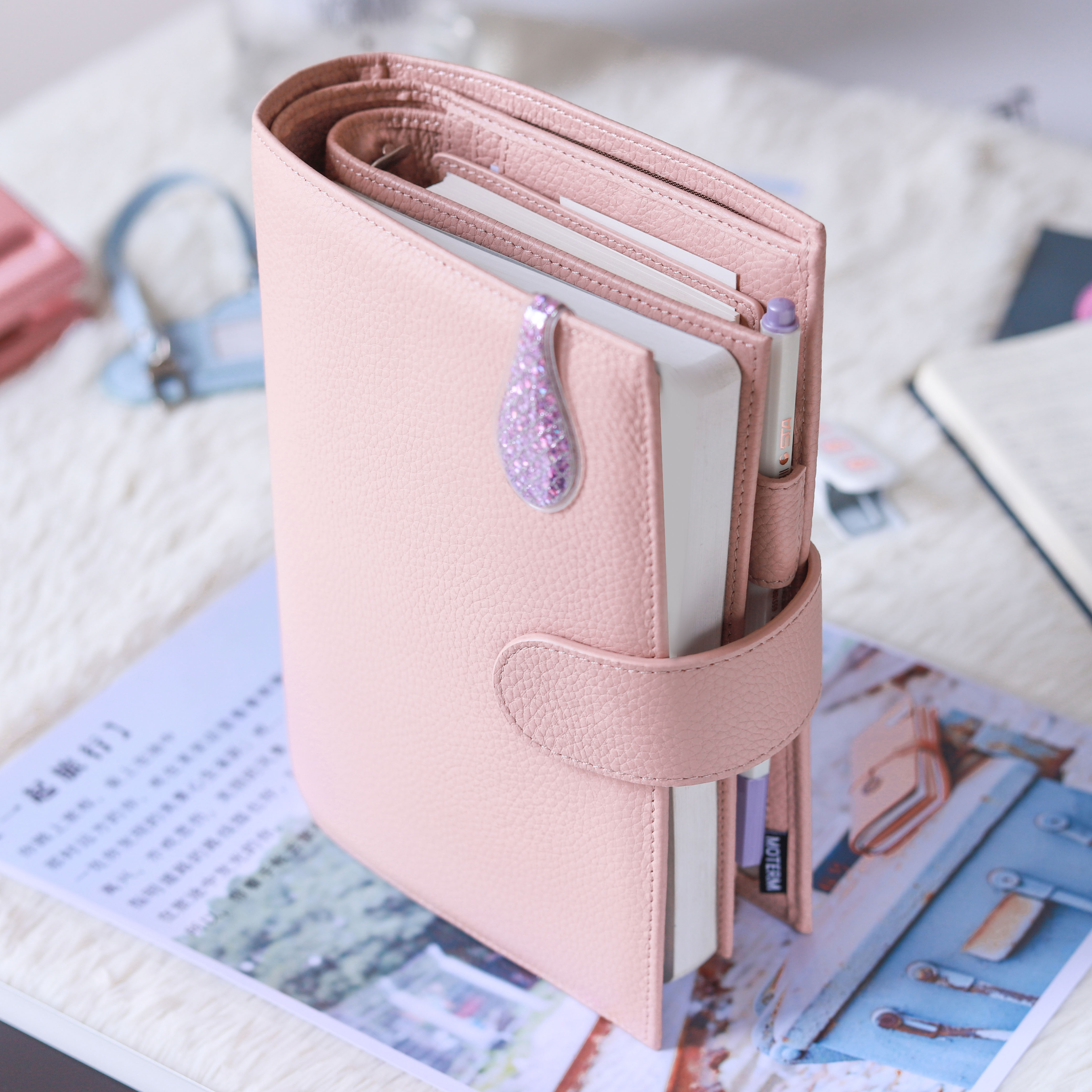 Moterm Personal Versa Planner with 25 mm Rings Litchi Style Multifunctional Agenda Organizer Diary Journal Notepad Sketchbook 4