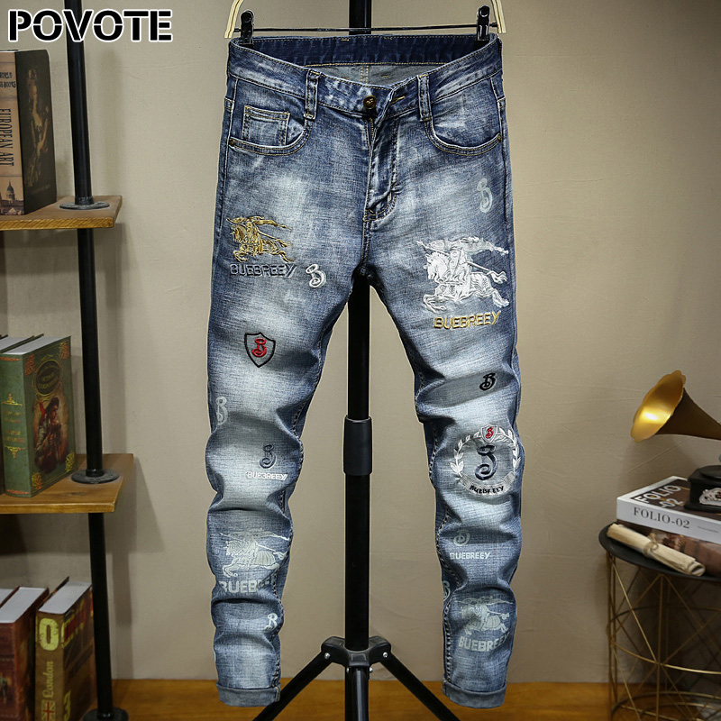 POVOTE Brand Jeans Retro Nostalgic Straight Pants Pattern Embroidery Men's Jeans Motorcycle Jeans Trend Design