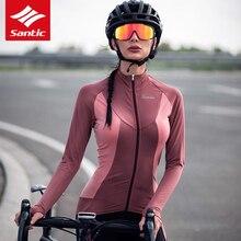 サンティックサイクリングジャージー秋冬フリースサーマル長袖mtbロードバイクジャージ女性自転車ジャージサイクリング服