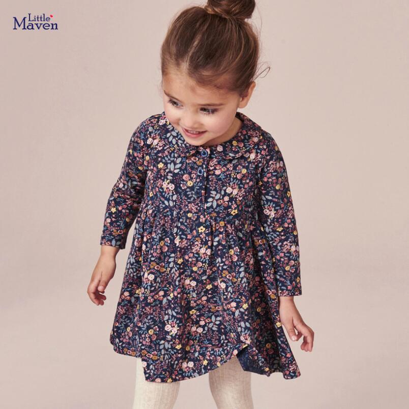 Little maven kids girls fashion brand autumn children's dress baby girls clothes Cotton floral print toddler girl dresses S0845 2
