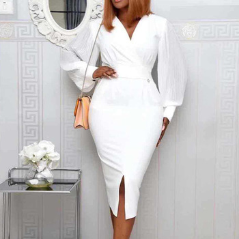 Office Ladies Elegant Party Dress Spring Solid Color V-Neck High Waist Puff Sleeve White Bodycon Midi Dress Women Plus Size color block plus size work bodycon dress