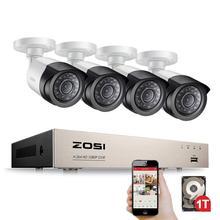 ZOSI 4 канала 1080P HDMI P2P TVI DVR система видеонаблюдения видеовыход 4 шт 2000TVL 2.0MP камера Домашняя безопасность CCTV комплекты