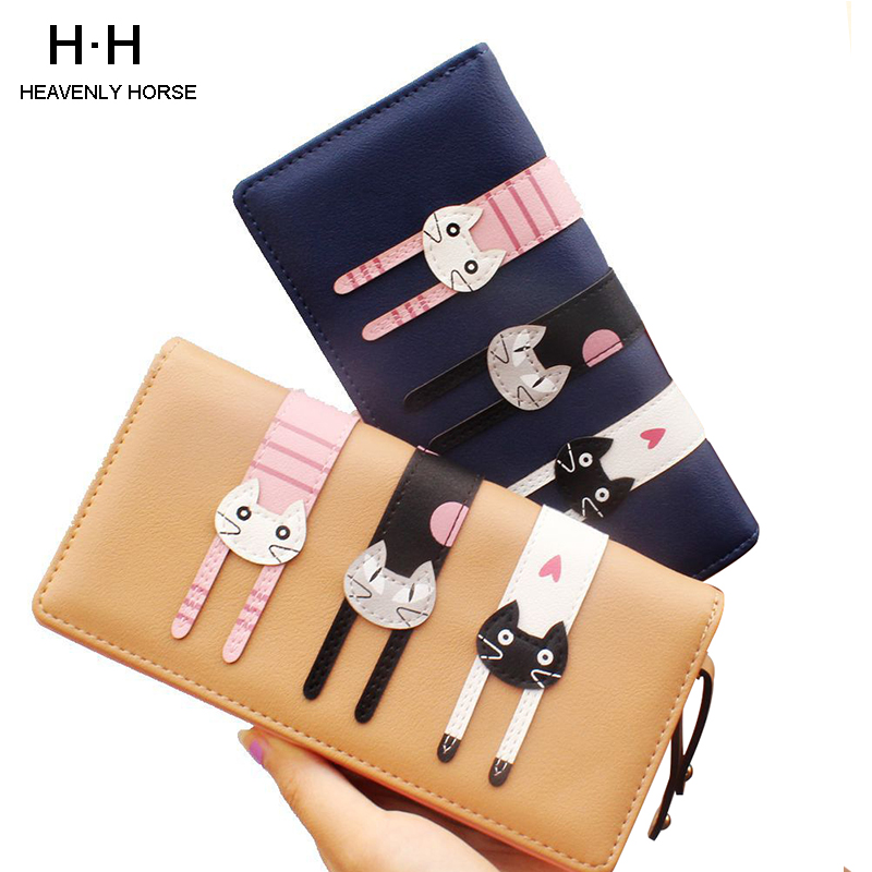 New Arrival Cute Female Clutch Long Shoret Wallet Korean Three Cats Purse Women Card Holder Student Girl Coin Purse Bag
