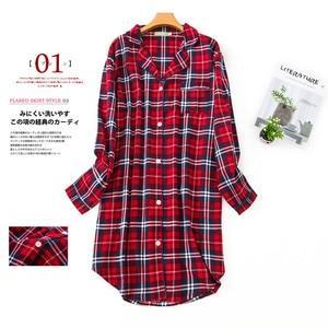 Image 4 - Robe de nuit en coton brossé, grande taille, pour femmes, chemise de nuit automne hiver, 100%, en flanelle, pour petit ami, vêtements de nuit de dessin animé