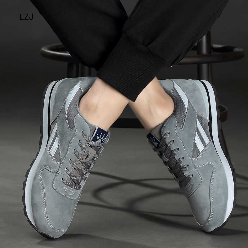 LZJ erkek hakiki deri sneakers nefes alan günlük ayakkabılar kaymaz açık yürüyüş ayakkabısı hafif kauçuk taban dantel-up