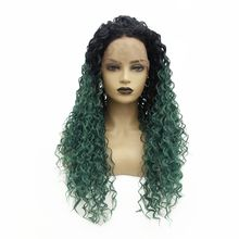 цена на Ombre Green Kinky Curly 180% Density Heat Resistant Hair Synthetic Lace Front Wig Middle Part Glueless Long Wigs for Black Women