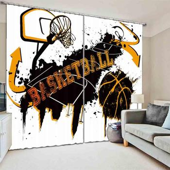 Custom Fashion 3D Blackout Curtains Basketball court Curtains For Bedroom Living Room Window Shading