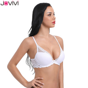 Image 5 - Jovivi 1 pc Womens Sexy Lace Bra Molded Cup Light Padded Underwire Bra Thin Ladies Bra Comfort Soft Daily Bras White 32A 40DDD