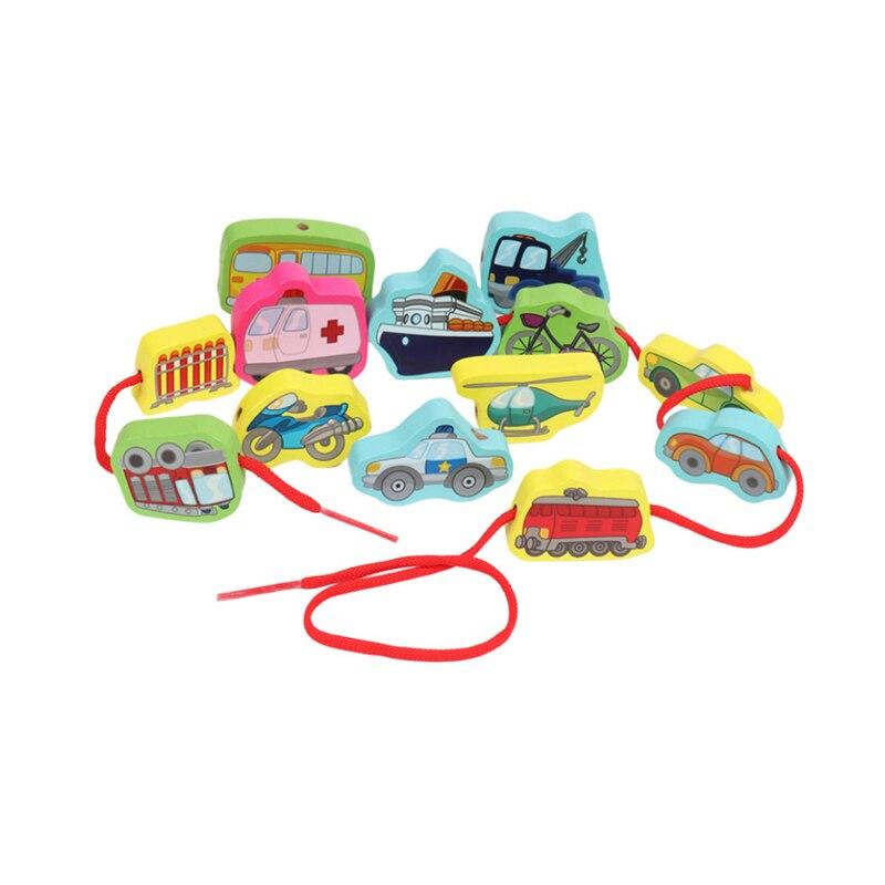 1 Набор большие Мультяшные фермы/английские буквы/тематика дорожного движения веревка деревянные игрушки Детские Обучающие шарики