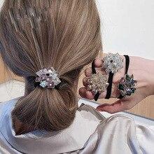 Корейский Изысканный на голову эластичная повязка для головы с нахлестом с украшением в виде кристаллов Стразы головной канат роскошное и ...