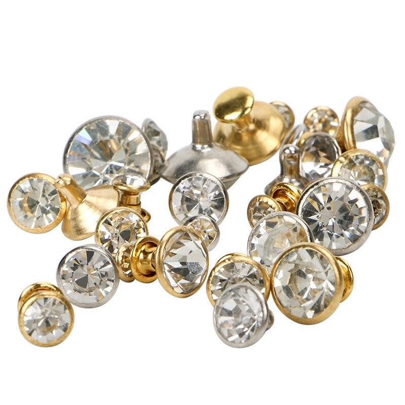 50 Sets 5-11mm Crystal Rhinestone Trim Rivets Diamante Studs DIY Clothing Bag Leather Decorative Rebite Spikes Glass Drill Nail