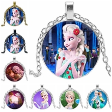 2019 New Hot Glass Dome Princess Elsa Anna Snow Queen Popular Pendant Necklace Girl Gift Jewelry