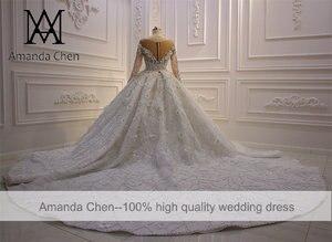Image 5 - High Quality Long Sleeve Rhinestone Crystal Luxury Wedding Dress 2020 Ball Gown