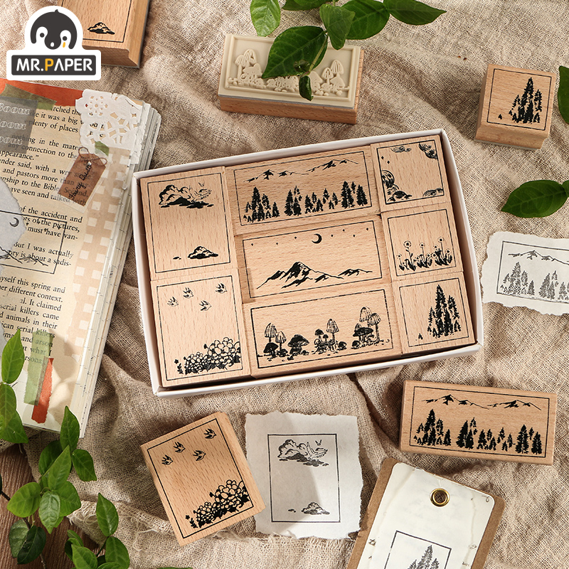 Mr.Paper Mountain And Sea Series Wooden Rubber Stamps For Scrapbooking Deco Classical Craft Labels Standard Big Size Stationery