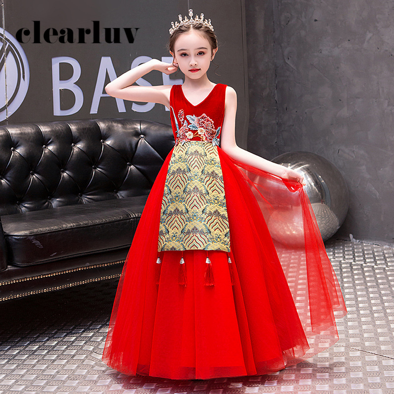 Girls Princess Dresses B091 Red Sleeveless Chinese Style Embroidery Kids Evening Dresses V-Neck Tulle Shawl Flower Girl Dresses
