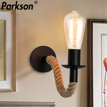 цена на Retro Hemp Rope Wall Lamp Vintage E27 Edison bulb Wall Light Industrial Sconce For Indoor Loft Outdoor corridor Decor Wall Light