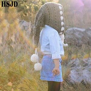 Image 5 - Çocuklar kış şapka el yapımı tığ işi Elf bere şapka çocuk sıcak örme gökkuşağı yanlış yaka Elf şapka kapşonlu kap erkek kız noel kap