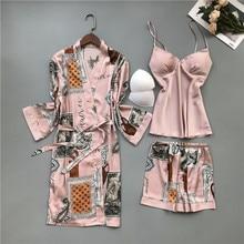 QWEEK, одежда для комнаты, атласная пижама для женщин, женская пижама, женская одежда для сна, комплект летней шелковой пижамы, ночная рубашка с принтом 2020