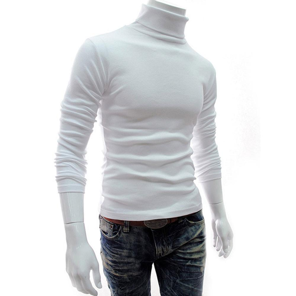 2019 Newly Men Turtleneck Sweater Long Sleeve Solid Slim Fit Thin Knitted Pullover Warm Slim Shirt For Autumn Winter