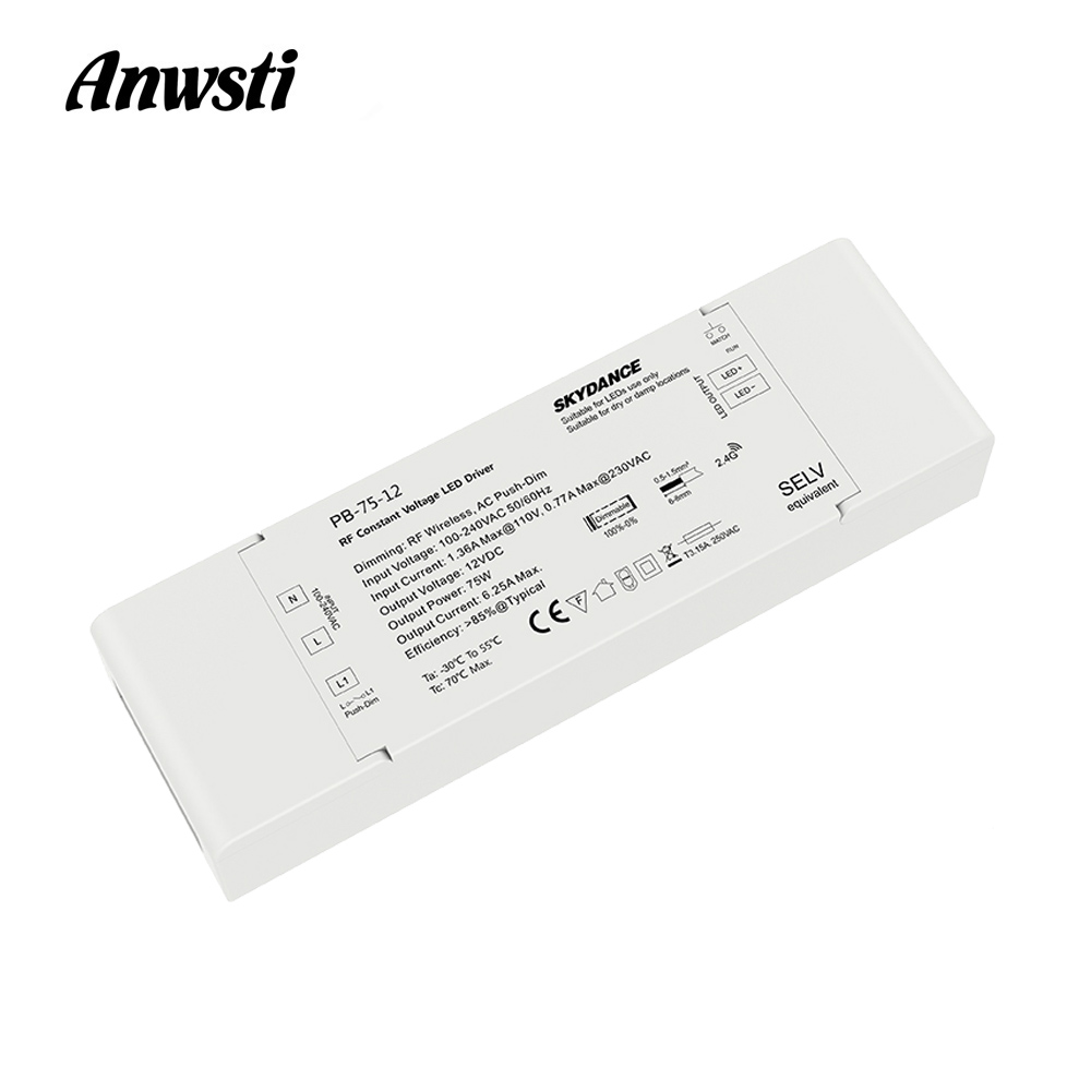 Dimmable LED Driver 12V 24V 75W RF 2.4G Wireless Remote Control AC 110V 220V to DC 12V 24V Constant Voltage LED Dimming Driver image