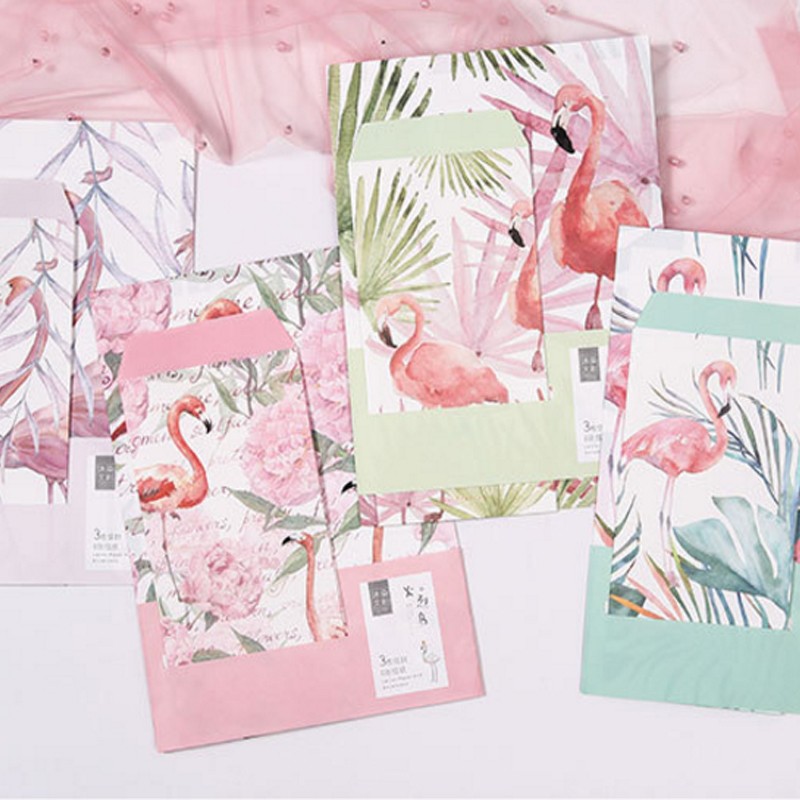 1Pack/lot 3 Envelopes + 6 Sheets Lovely Flamingos Flower Planting Letter Paper Set For Gift School Office Supplies