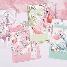 1Pack/lot 3 Envelopes + 6 Sheets Lovely Flamingos Flower Planting Letter Paper Set For Gift School Office Supplies