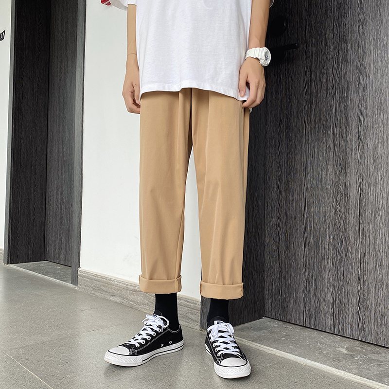 Summer Cotton Pants Men Fashion Solid Casual Pants Korean Style Streetwear Hip Hop Loose Straight Trousers Male Khaki Black Grey