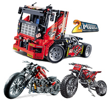 купить Race Truck Car 2 In 1 Transformable Firefighting Truck Deformable Motorcycle Technic 42041 8051 Blocks Toys Gift B834 недорого