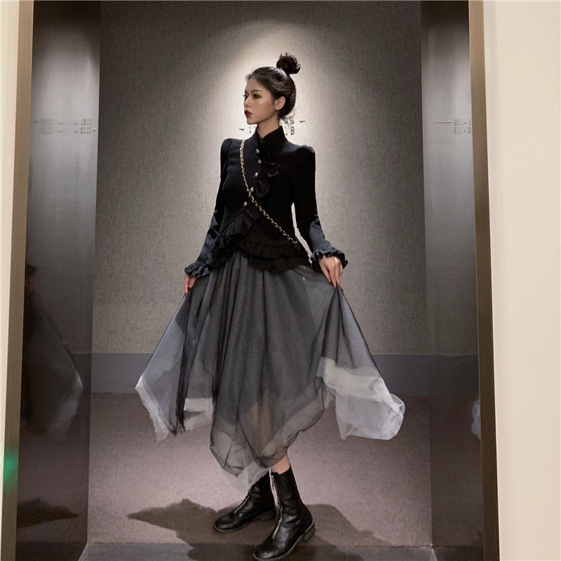 Two Pieces Retro Dress Outfits Dress Suits Long Sleeve Slim Ruffled Black Shirt&Irregular Mesh Skirt Sets Vintage 2pc Skirt Suit