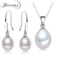 Reale Natürliche Perle Schmuck Sets Silber 925 Frauen, Süßwasser Perle Ohrring Set Anhänger Halskette Weiß Tochter Geburtstag Beste Geschenk