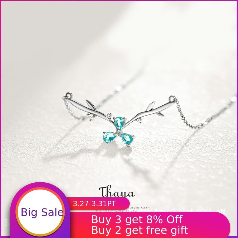 Thaya Blue Petal Fawn Design Necklace 925 Silver Fashion Choker Necklace For Women Wedding Jewelry