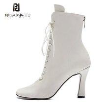 Prova perfetto nova chegada runway estilo ankle boots feminino dedo do pé redondo salto alto rendas botas ocidentais cruz amarrado retro botas curtas