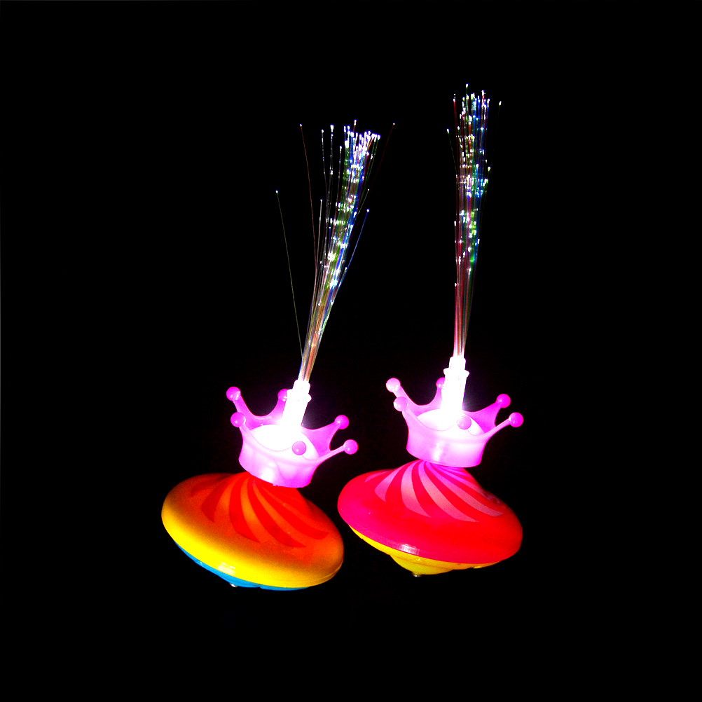 New Colorful Creative Crown Fiber Optic Flashing Music Gyro Peg-top Electric Spinning Top Gyroscope Kids Toy